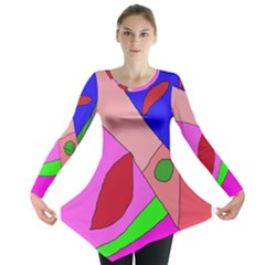 Pink abstraction Long Sleeve Tunic