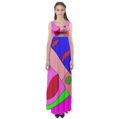 Pink abstraction Empire Waist Maxi Dress