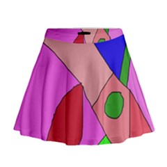 Pink abstraction Mini Flare Skirt
