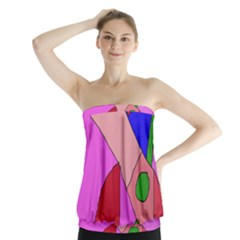 Pink abstraction Strapless Top