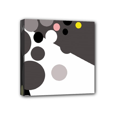 Gray, yellow and pink dots Mini Canvas 4  x 4