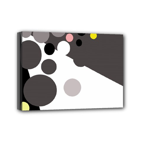 Gray, yellow and pink dots Mini Canvas 7  x 5