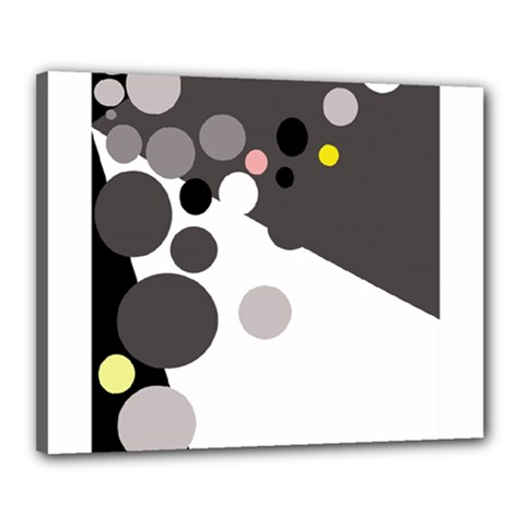 Gray, yellow and pink dots Canvas 20  x 16