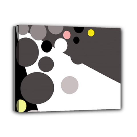 Gray, yellow and pink dots Deluxe Canvas 14  x 11