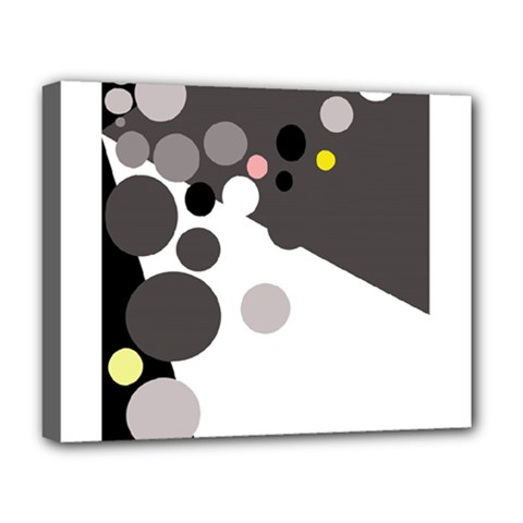Gray, yellow and pink dots Deluxe Canvas 20  x 16