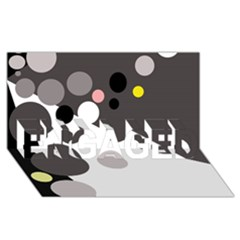 Gray, yellow and pink dots ENGAGED 3D Greeting Card (8x4)