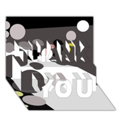 Gray, yellow and pink dots THANK YOU 3D Greeting Card (7x5)
