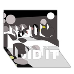 Gray, yellow and pink dots You Did It 3D Greeting Card (7x5)