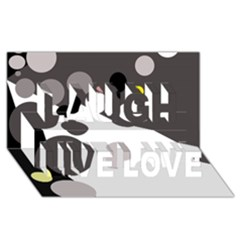 Gray, yellow and pink dots Laugh Live Love 3D Greeting Card (8x4)