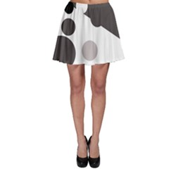 Gray, yellow and pink dots Skater Skirt