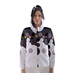 Gray, yellow and pink dots Hooded Wind Breaker (Women)