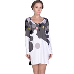 Gray, yellow and pink dots Long Sleeve Nightdress