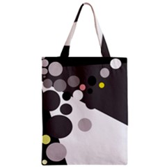 Gray, yellow and pink dots Zipper Classic Tote Bag