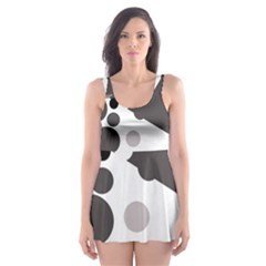 Gray, yellow and pink dots Skater Dress Swimsuit