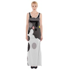Gray, yellow and pink dots Maxi Thigh Split Dress