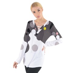 Gray, yellow and pink dots Women s Tie Up Tee