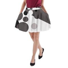 Gray, yellow and pink dots A-Line Pocket Skirt