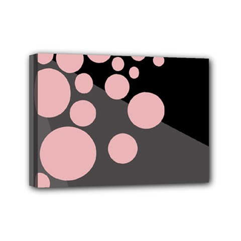 Pink dots Mini Canvas 7  x 5