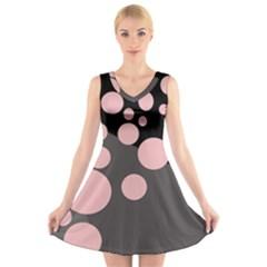 Pink dots V-Neck Sleeveless Skater Dress