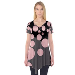 Pink dots Short Sleeve Tunic