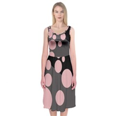 Pink dots Midi Sleeveless Dress