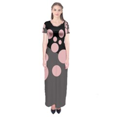 Pink dots Short Sleeve Maxi Dress