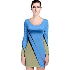 Elegant lines Long Sleeve Velvet Bodycon Dress