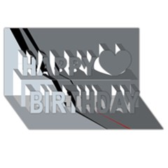 Elegant gray Happy Birthday 3D Greeting Card (8x4)