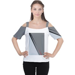 Elegant Gray Women s Cutout Shoulder Tee