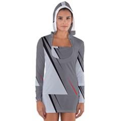 Elegant gray Women s Long Sleeve Hooded T-shirt