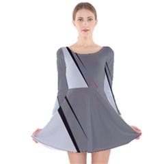 Elegant gray Long Sleeve Velvet Skater Dress