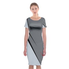 Elegant gray Classic Short Sleeve Midi Dress