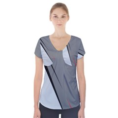Elegant gray Short Sleeve Front Detail Top