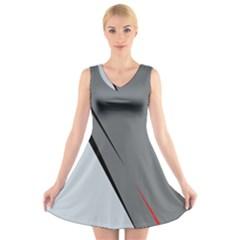 Elegant gray V-Neck Sleeveless Skater Dress