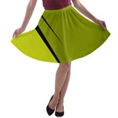 Yellow elegant design A-line Skater Skirt