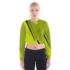 Yellow elegant design Women s Cropped Sweatshirt