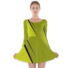 Yellow Elegant Design Long Sleeve Velvet Skater Dress