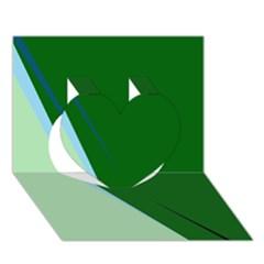 Green design Heart 3D Greeting Card (7x5)