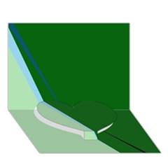 Green design Heart Bottom 3D Greeting Card (7x5)