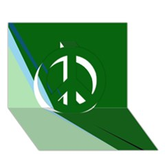 Green design Peace Sign 3D Greeting Card (7x5)