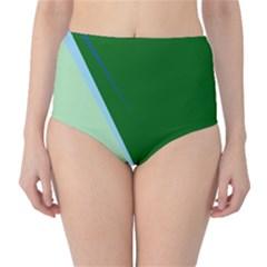 Green design High-Waist Bikini Bottoms