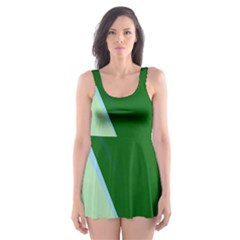 Green design Skater Dress Swimsuit