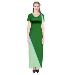 Green design Short Sleeve Maxi Dress