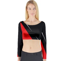 Black and red design Long Sleeve Crop Top