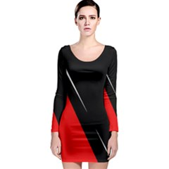 Black and red design Long Sleeve Bodycon Dress