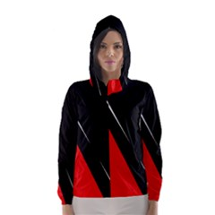 Black and red design Hooded Wind Breaker (Women)