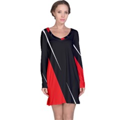 Black and red design Long Sleeve Nightdress