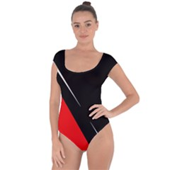 Black and red design Short Sleeve Leotard