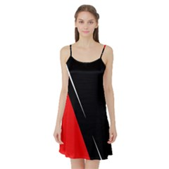 Black and red design Satin Night Slip