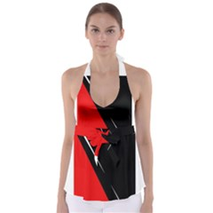 Black and red design Babydoll Tankini Top